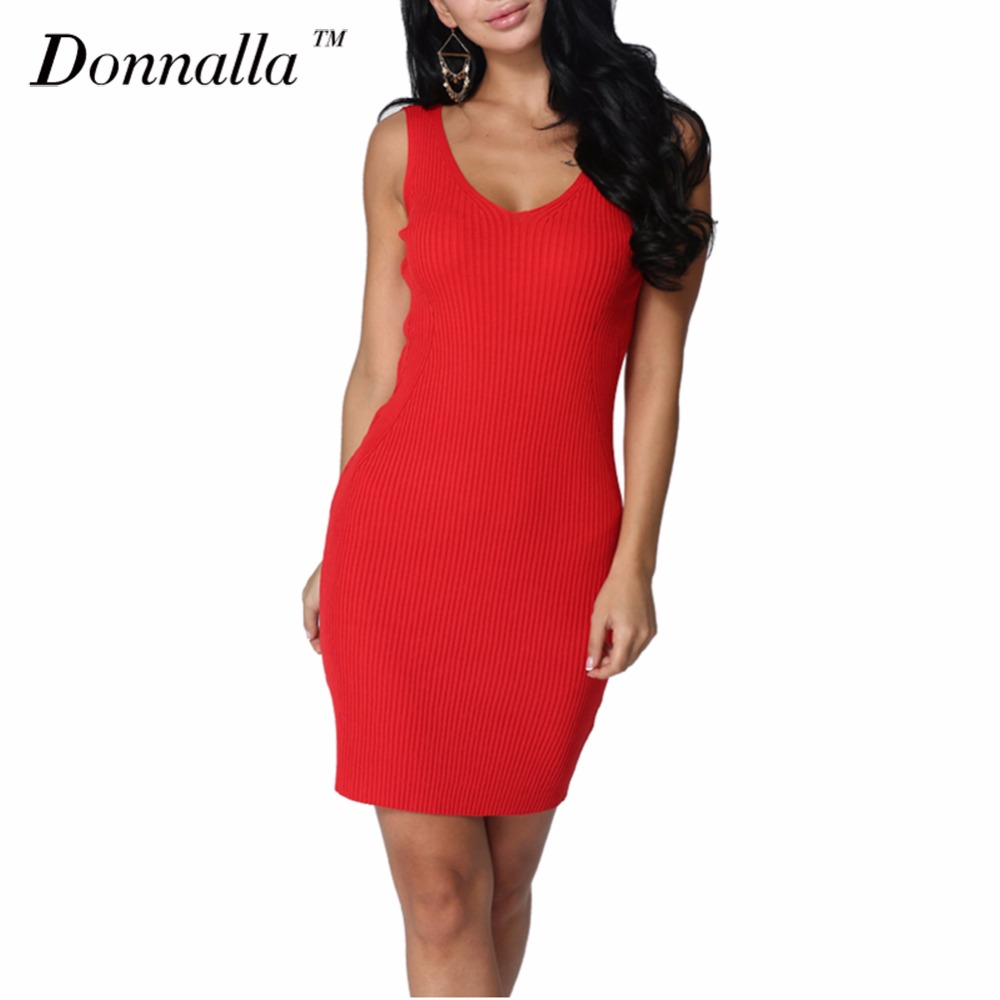 Donnalla Women Dress Sexy Slim Summer Dress Knitted ...
