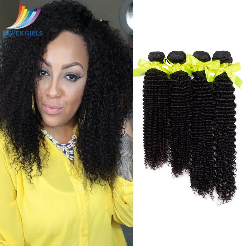 Sevengirls Brazilian <font><b>Grade</b></font> <font><b>10A</b></font> Kinky Curly 4 Bundles Natural Color 100% Virgin Human <font><b>Hair</b></font> Extension 10-30 Free Shipping Online image