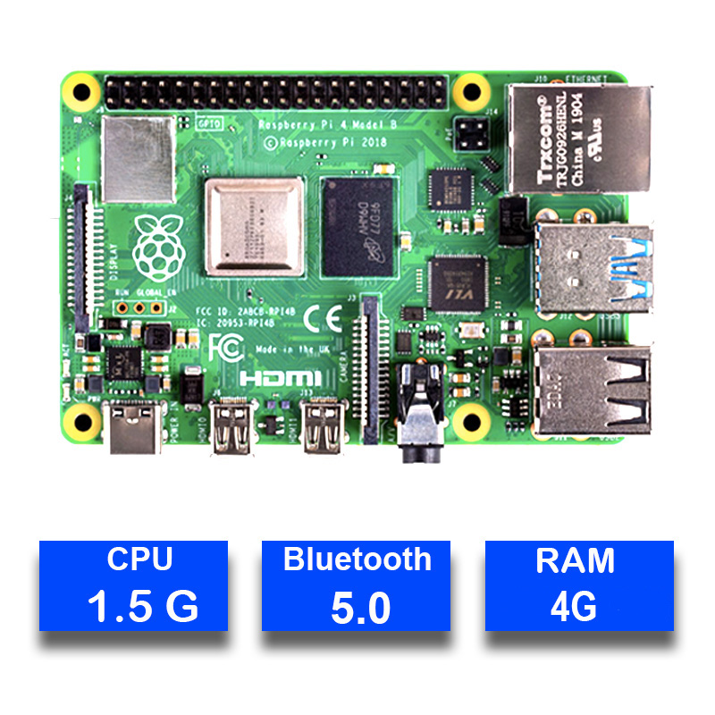 Image 2 - Original Raspberry Pi 4 Model B 4B with RAM 4GB 1.5GHz 2.4 / 5.0 GHz WIFI Bluetooth 5.0 Case Cooling Heatsink Power Supply 2019-in Demo Board from Computer & Office