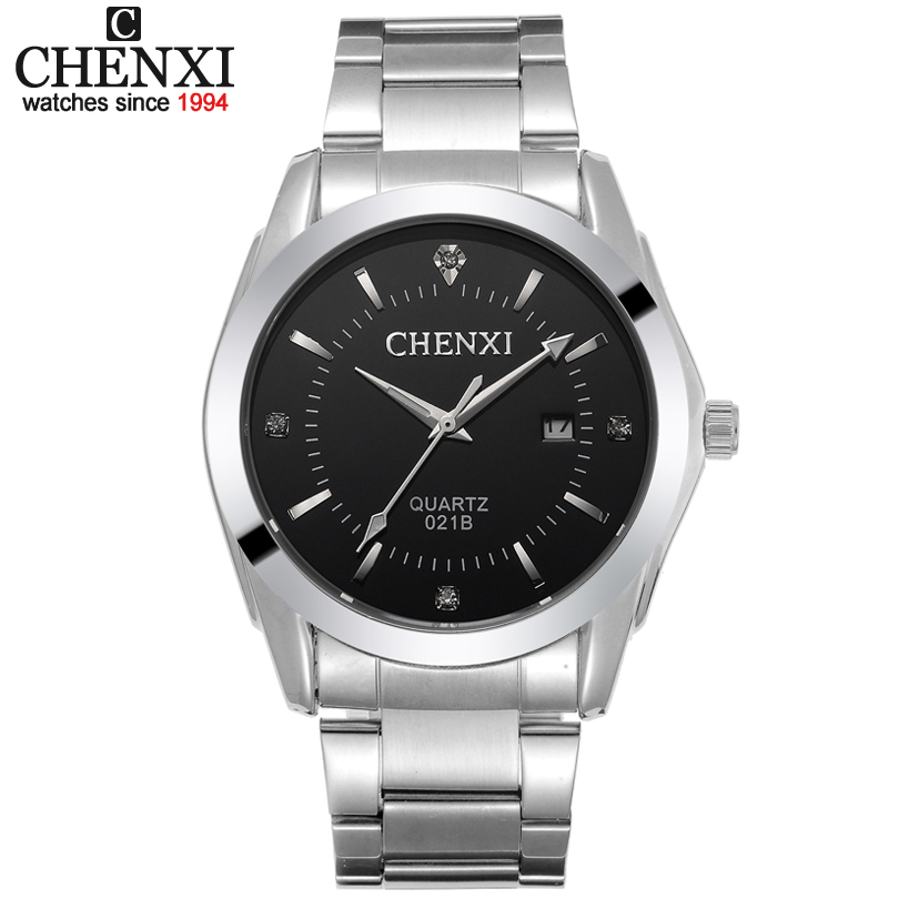 Free shipping CHENXI quartz Calendar steel Vogue Business Military Man Mens watches Dropship Black Relogio male watch