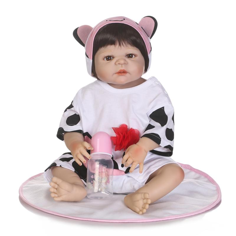 22 Inch Doll Reborn Full silicone Babies Doll For Girls 55CM Realistic Soft Alive Reborn Baby Doll Can Bath For Kids Playmate new sale 22 inch 55cm full silicone reborn doll with tiger yellow clothes playmate silicone toddler reborn babies girl dolls