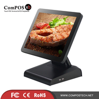 Supermarket Black Truth Flat Display 15 Inch Poc Pc Electronic Cash Register Touch Screen Monitor LCD