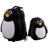 2 pcs Penguin Shaped Kids School Luggage Suitcase & Backpack with Durable Multi directional Wheels Lightweight Suitcase