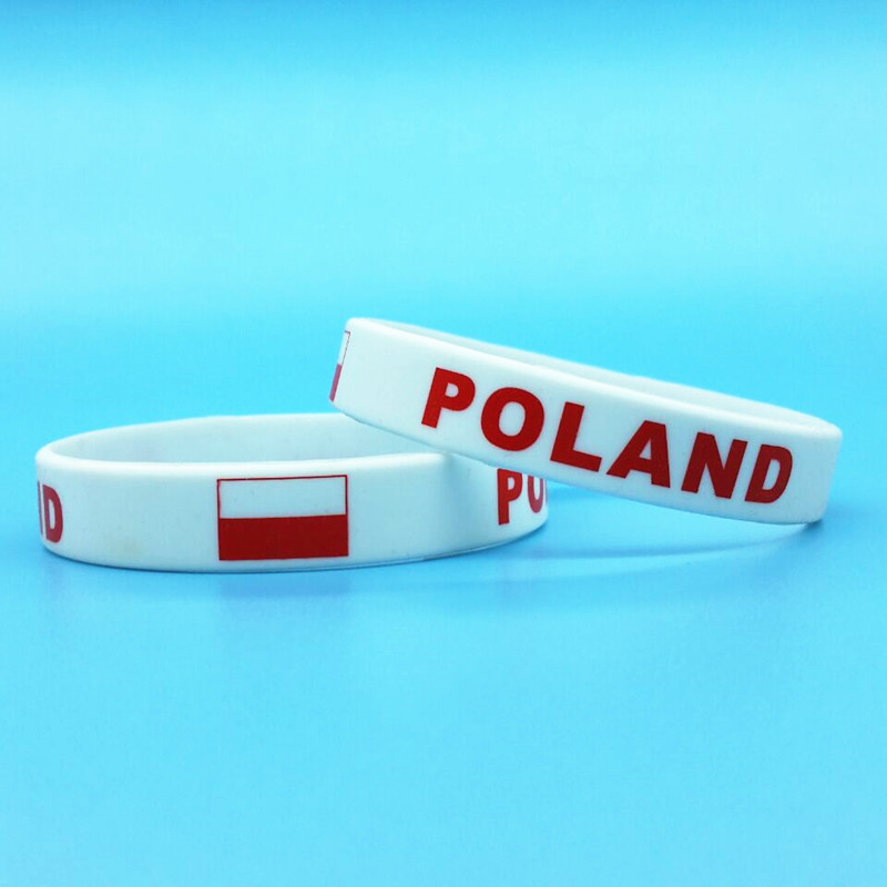 100pcs Poland Flag Bracelet Hologram Men Silicone Wristband World Sport Wrist Strap Band Bangle Outdoor Polska