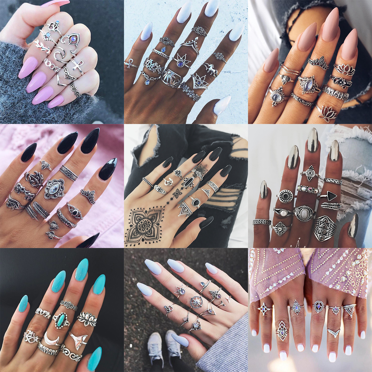 Boho Jewelry Stone Midi Ring Sets for Women Anel Vintage Tibetan Turkish Silver Color Flower Knuckle Rings Gift 10 pcs/Set