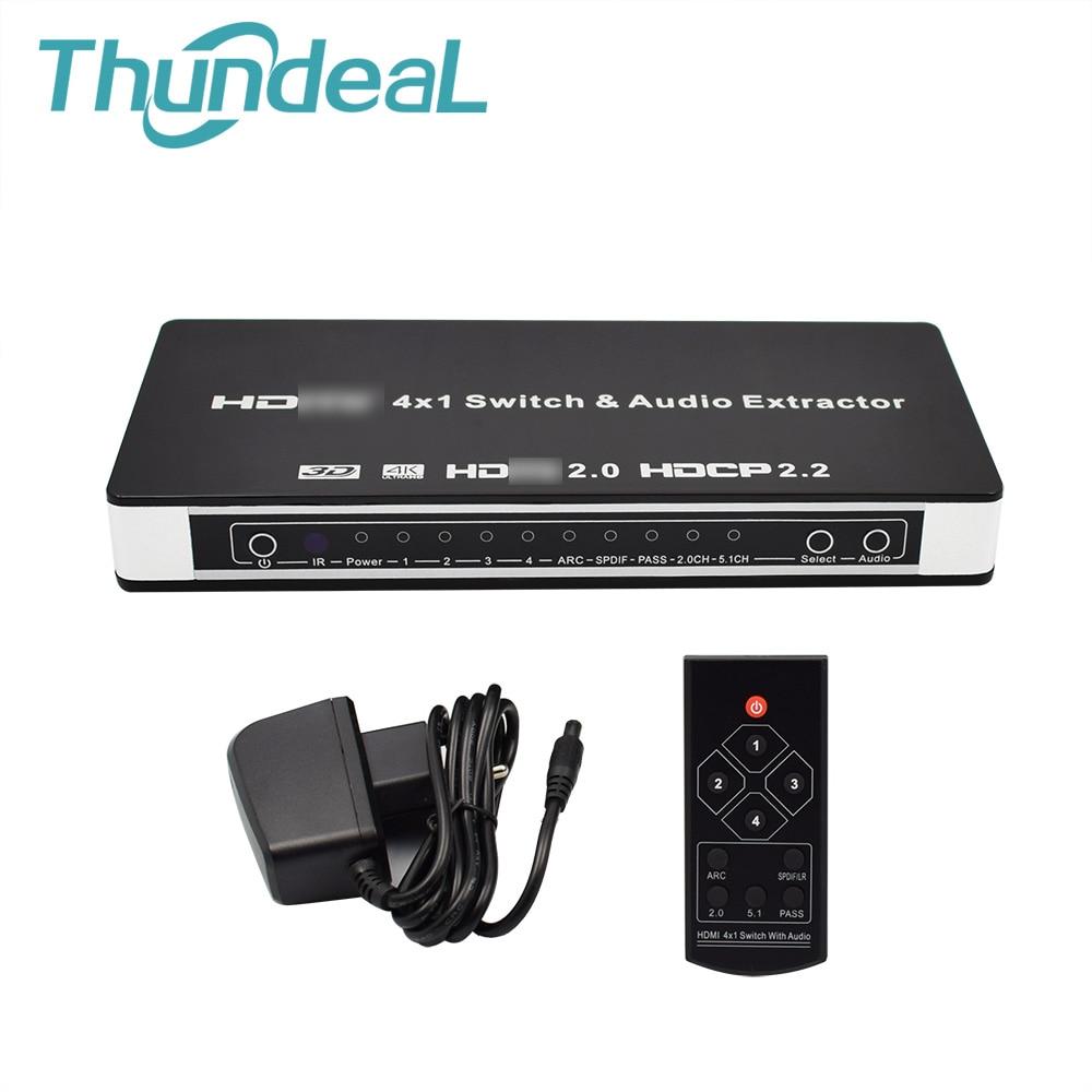 ThundeaL 4x1 2.0 HDMI commutateur HDMI 2.0 4 à 1 HDMI commutateur Audio extracteur pour XBOX DVD TV 4 K 60Hz 3D ARC vidéo Audio SPDIF RCA