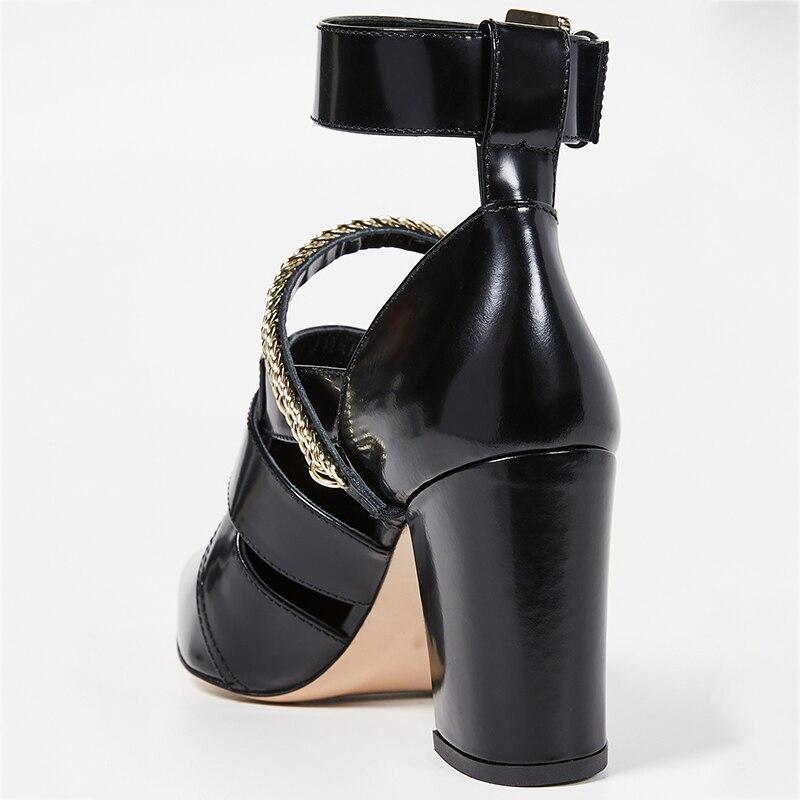 Белые ботильоны с ремешком и пряжкой; женская летняя обувь в стиле панк с цепочкой на высоком массивном каблуке с острым носком; модные ботинки; большие размеры 15 16 - 3