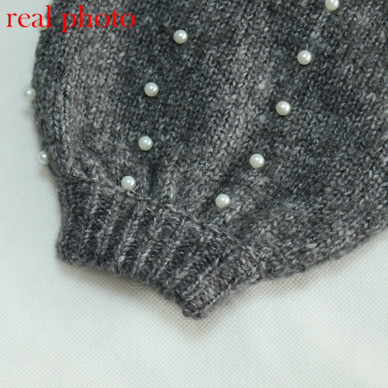 Simenual Autumn winter 18 women sweaters and pullovers bead lantern sleeve knitted sweater pullover female grey slim jumpers 16