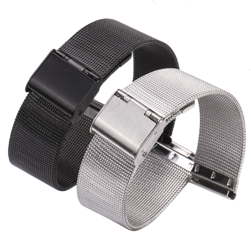 HENGRC 16 18 20 22 24mm Watch Band Strap Stainless Steel Women Watchbands Silver Black Metal Bracelet Double Clasp Accessories
