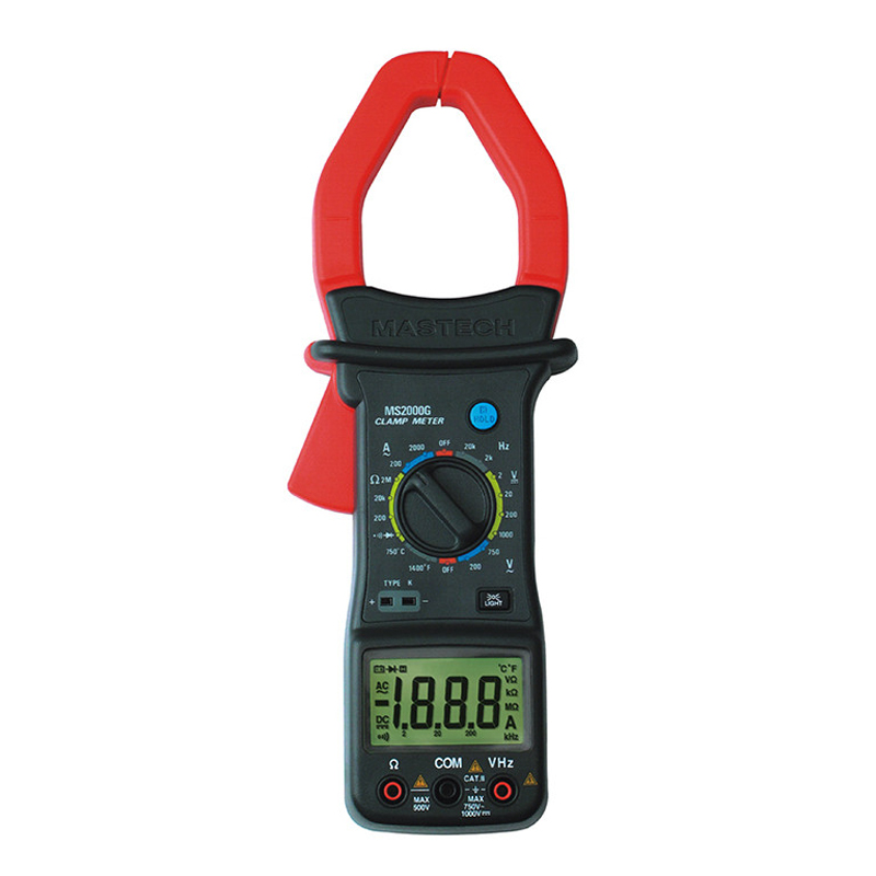 MASTECH MS2000G 1999 count Digital Clamp Meter Current AC DC Voltage Resistance Temperature Tester 1pc mastech m266 voltage current resistance temperature digital clamp meter