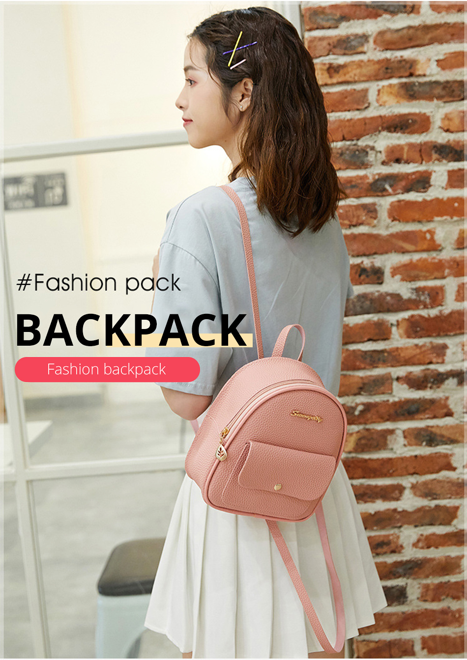 HTB1Hw7PXBKw3KVjSZTEq6AuRpXak 2019 Mini Backpack Women Korean Style PU Leather Shoulder Bag For Teenage Girls Multi-Function Small Bagpack Female Phone Pouch