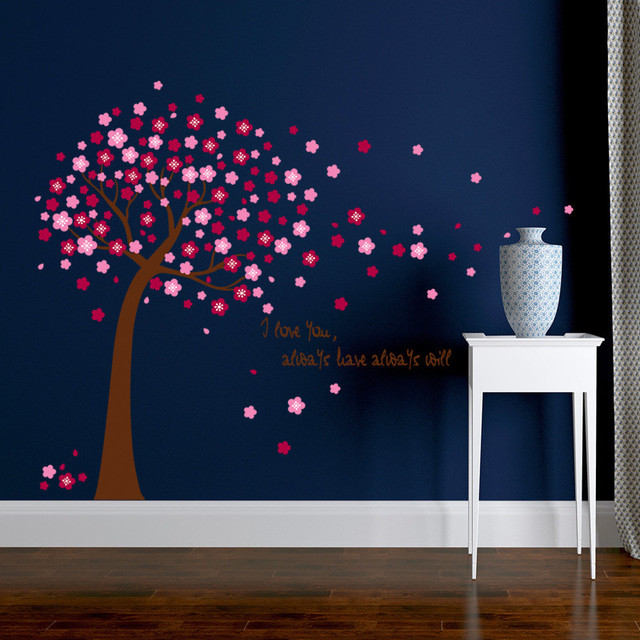 pink sakura flower cherry blossom tree removable wall sticker room