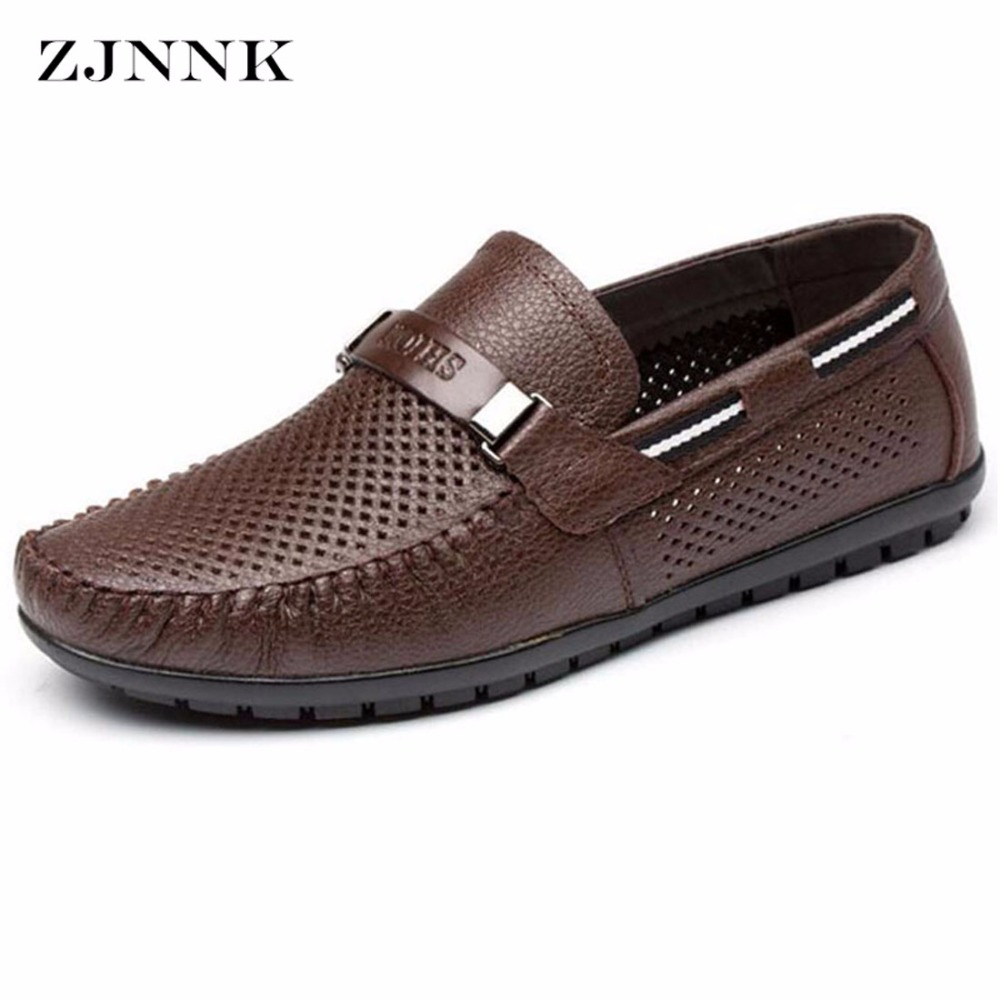 ZJNNK Genuine Leather Summer Shoes Men Flats Loafers Breathable Casual Chaussure Homme Real Leather Driver Men Moccasins Shoes genuine leather men casual shoes summer loafers breathable soft driving men s handmade chaussure homme net surface party loafers