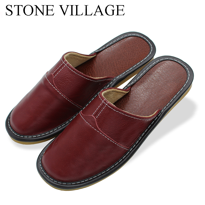 Plus Size 35-44 Genuine Leather Women Men Slippers Summer Home Slippers High Quality Women Men Shoes Non-Slip Home Floor Shoes fghgf shoes men s slippers mak