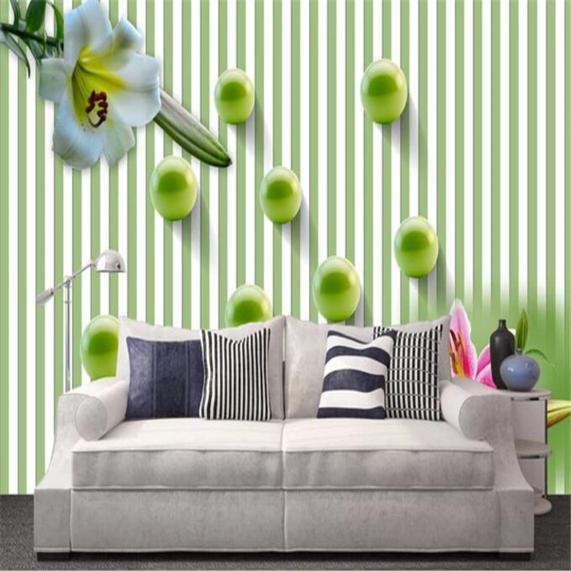 3D Wall Paper for Walls Simple Non-Woven Wallpapers Green White Striped Murals Living Room Decorative Wallpapers Lily TV Wall shinehome skyline sea wave sunset seascape wallpaper rolls for 3d walls wallpapers for 3 d living rooms wall paper murals roll