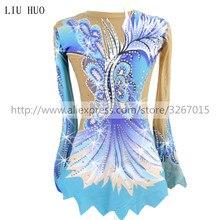 Kadın ritmik jimnastik mayoları kızlar için performans takım elbise sanatsal jimnastik elbise mavi güzel baskı parlak rhinestone