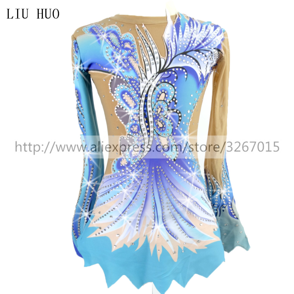Women Rhythmic Gymnastics Leotards For Girls Performance Suit Artistic Gymnastics Dress Blue Beautiful Print Shiny Rhinestone