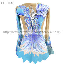 Women rhythmic gymnastics leotards for girls performance suit Artistic gymnastics dress Blue Beautiful print Shiny rhinestone