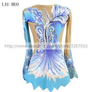 Image 1 - Women rhythmic gymnastics leotards for girls performance suit Artistic gymnastics dress Blue Beautiful print Shiny rhinestone