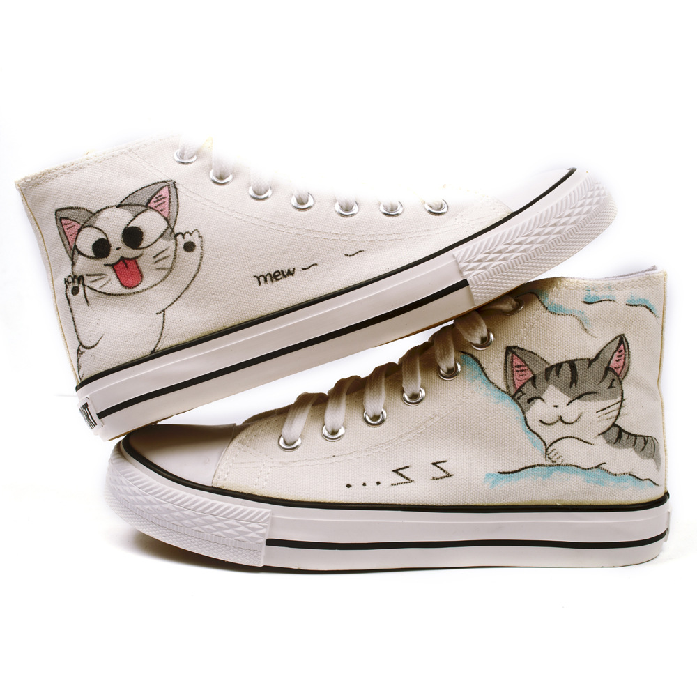 ee0eff6254e7a US $20.29 11% OFF|Children's Shoes Hand painted Cartoon Cheese Cat Canvas  Casual Shoes Boys and Girls Cat Shoes Size 23 39-in Sneakers from Mother &  ...