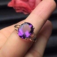 Fine Jewelry индивидуальные Размеры Настоящее 18 К розовое золото AU750 100% натуральный аметистовый драгоченный камень женские Кольца для Для женщин