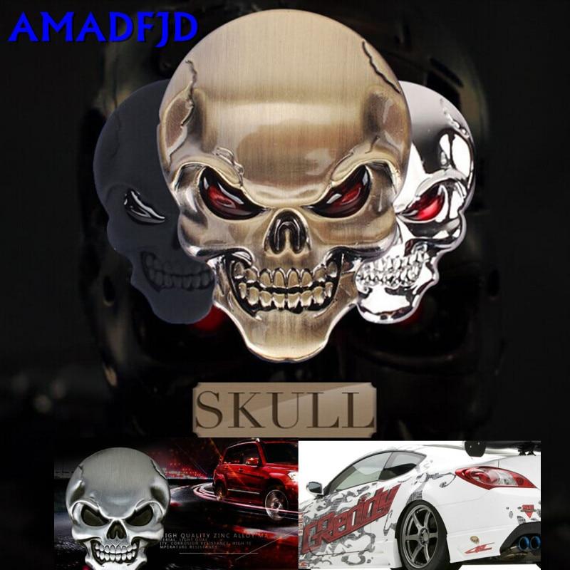 5cmX3.5cm 3D Metal Skull Motorcycle Bike Car Sticker Logo Emblem Badge Decals for Fiat Bmw Ford Lada Audi opel volvo VW Car Styl for ford edge metal letters hood emblem solid chrome silver black 3d logo badge sticker for 2014 2015 2016 2017 ford edge