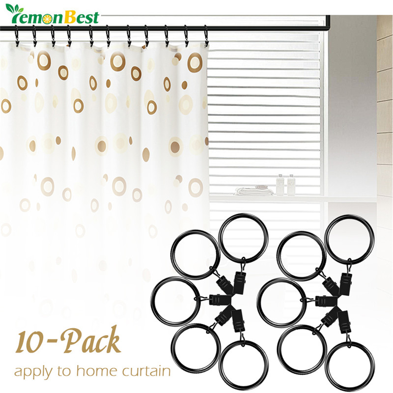 LemonBest 10 pcs Curtain Clips Rings Curtain Hooks Metal Drapery Curtain Rings with Clips Holding Heavy Curtains and Drapes