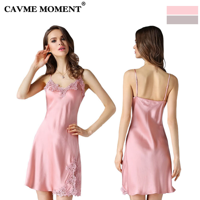CAVME 2019 Plus Size Silk Lace Spaghetti Strap   Nightgowns   Sexy   Sleepshirts   Elegant Sleepwear Solid Color Summer Nightdressing