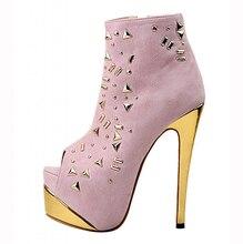 2016 frauen Schuhe High Heels Stiefeletten Schwarz Rosa Peep Toe Metall Dekoration Frau Stiefel Handgefertigte Schuhe Us-größe 4-15