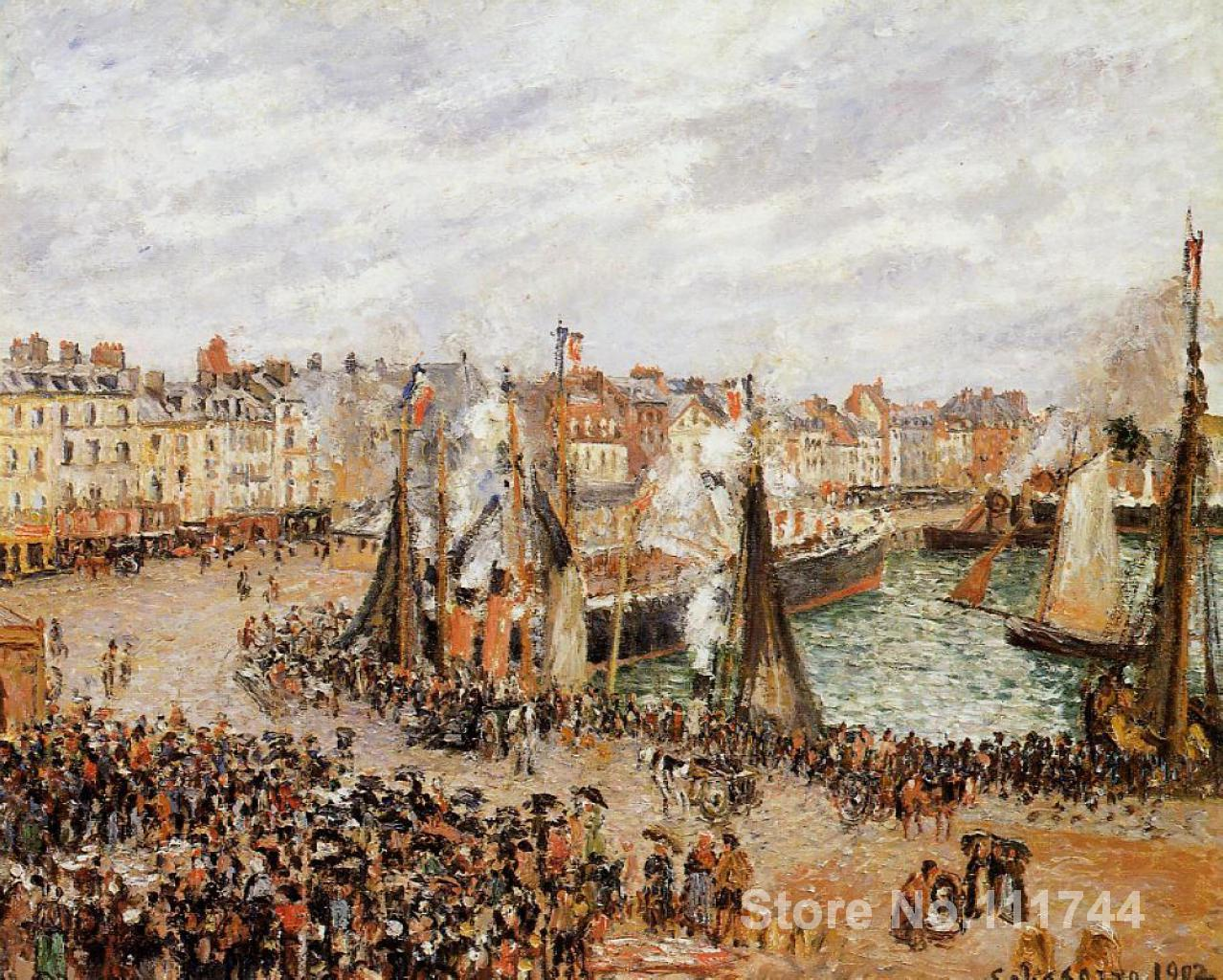 French impressionist paintings The Fishmarket Dieppe Grey