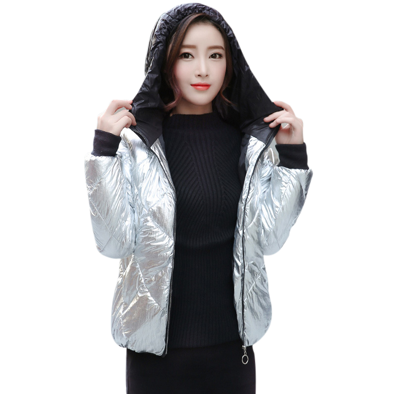 Silver Hooded Winter Jacket Women Coat 2019 New Fashion Spring Autumn Slim Warm Gold Overcoat Femme Plus Size   Parka