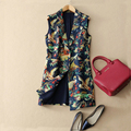 European 2017 spring new retro print slim suit collar sleeveless long vest woman 3D print flower coat