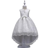 BAOHULU Toddler Little Girl Prom Lace Dress Tutu Kids White Princess Dresses V Neck Big Bow Wedding Vestidos Birthday Clothes