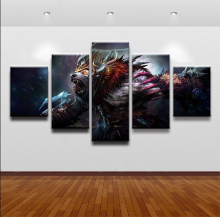 Wall Art Canvas Painting Video Game Poster 5 Panel DOTA 2 Ursa Characters For Childrens Room Home Decorative Modular Pictures