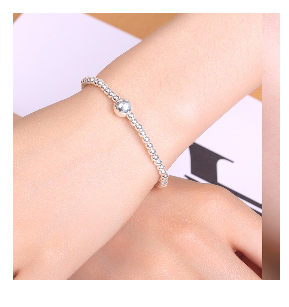 HTB1Hw8SaND1gK0jSZFyq6AiOVXao LicLiz 2019 925 Sterling Silver Adjustable Strand Bracelet for Women Round Ball Charms Beaded Chain Elastic Heart Jewelry LB0081