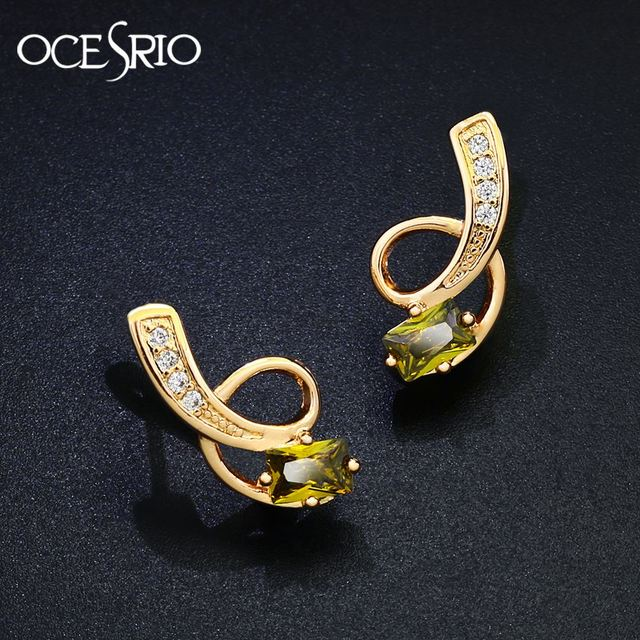 1f46a526c OCESRIO Luxury 585 GOLD Cubic Zirconia Ear Piercing Earrings Small Green  Stone Stud Earrings with Stones brincos ers-j80