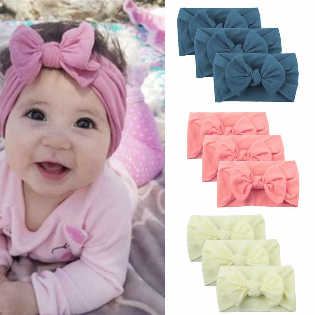 เด็กทารก bow headband เด็กวัยหัดเดิน Turban Solid ทารก headbands ผม Band girls bows 3 ชิ้นหัวเด็กอุปกรณ์เสริม Headwear hairbands
