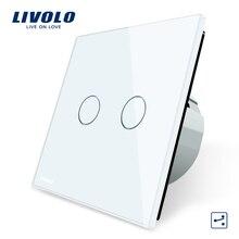 Производитель, Livolo Стандартный ЕС Сенсорный Выключатель, 2 Gang 2 Way Управления, 3 Цвет Хрусталь Стеклянные Панели, стены Выключатель Света, C702S-1/2/5