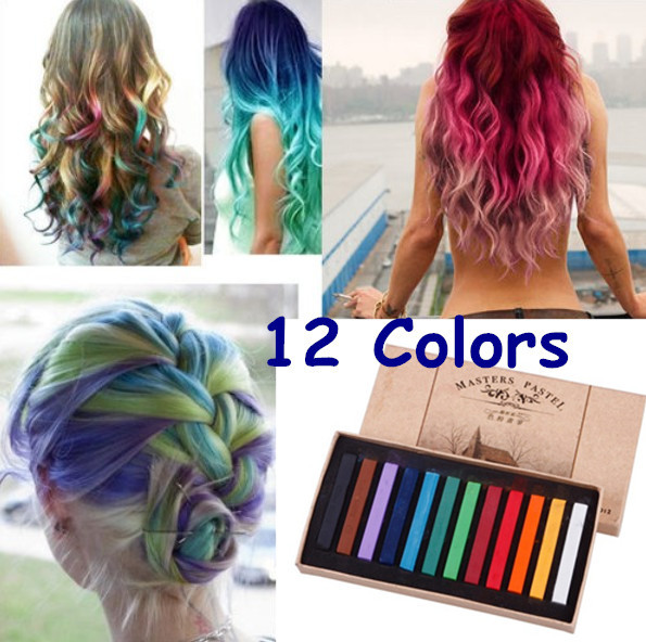 Hot Fashion Healthy Crayons For Hair 12 Color Fast Non Toxic