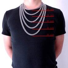 """8 мм 1""""-36"""" дюймов индивидуальная Длина мужская высококачественная нержавеющая сталь ожерелье Снаряженная кубинская цепочка модные украшения"""