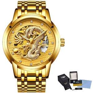 Image 5 - דרקון שלד אוטומטי מכאני שעונים לגברים שעון יד נירוסטה רצועת זהב שעון 30m עמיד למים Mens שעון