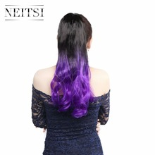 Neitsi 22″ B Purple Ombre Synthetic Ponytail Hair Extensions Long Curly Wavy Fake Clip In Hair Ponytail Hairpiece Fast Shipping