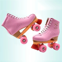 Children Adult Parenting Unisex Two Line Roller Skating Shoes Double Row Skates Kids 4 PU Wheels