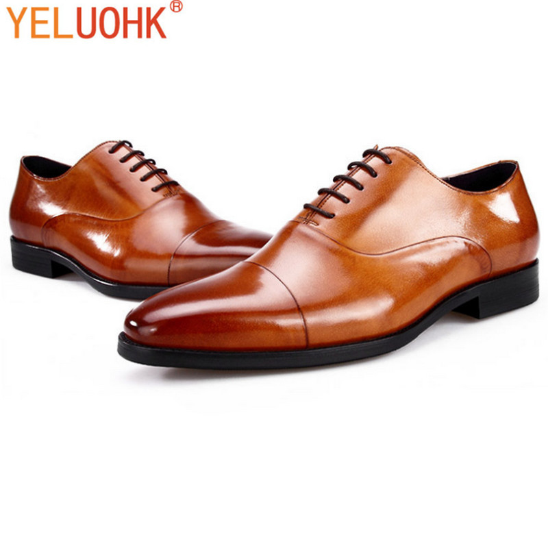 Genuine Leather Men Dress Shoes Men Oxfords Shoes For Men Shoes Formal Top Quality top quality crocodile grain black oxfords mens dress shoes genuine leather business shoes mens formal wedding shoes