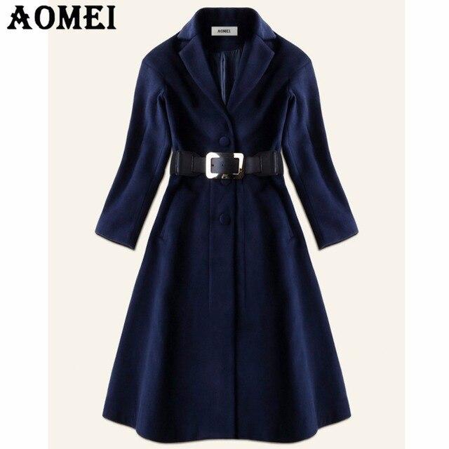 Abrigo lana mujer azul marino