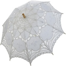 Noble Elegant Palace Style Long Arm Wedding Bridal Umbrella/Embroidery Gingham Lace Parasol lace Umbrella