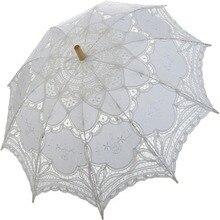 Noble Elegant Palace Style Long Arm Wedding Bridal Umbrella/Embroidery Gingham Lace Parasol lace Umbrella
