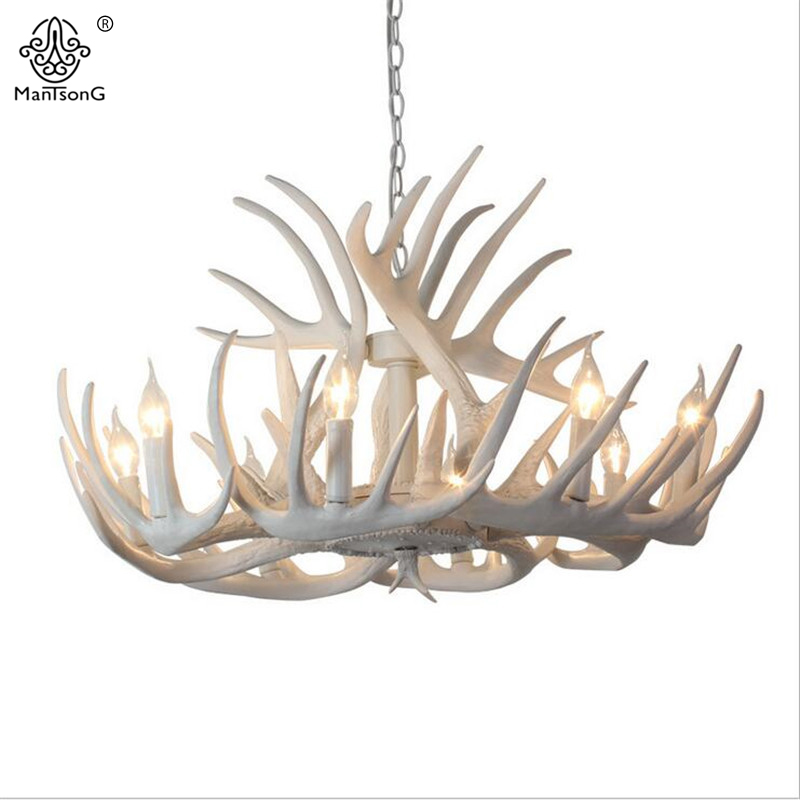 Europe 4/6/8/9 Heads  Antler Chandelier American Retro Resin Deer Horn Lamps For lighting decoration Pendant Lamp Chandelier