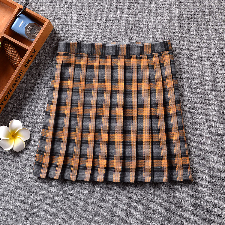 US $13 29 5% OFF|Japanese school uniform pleated skirt schoolgirl Naturals  yellow / Khaki / Earthy yellow Plaid stripes lattice stripe skirt -in