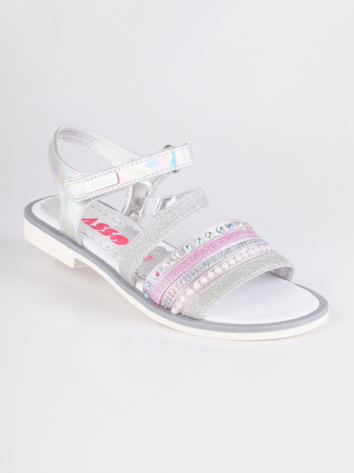 ACE Silver Sandals With Rhinestone And Glitter